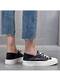 Rounded Toe PU Lace-up Casual Flats