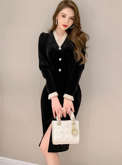 V-neck Patchwork Puff Sleeve Velvet Dress