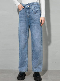 High Waisted Washed Denim Straight Pants