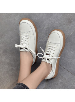 Rounded Toe Lace-up Soft Sole Flats