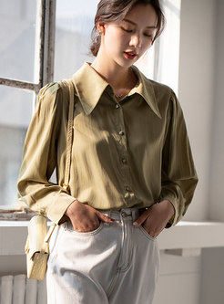 Solid Turn Down Collar Single-breasted Blouse