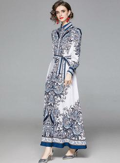 Retro Print Puff Sleeve Big Hem Maxi Dress