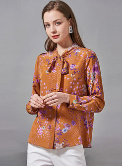 Bowknot Mock Neck Print Silk Blouse