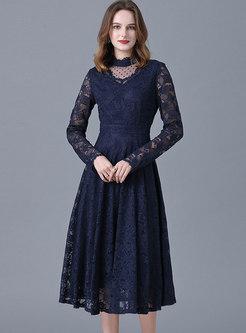 Plus Size Long Sleeve Lace Midi Dress