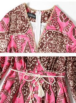 Lantern Sleeve V-neck Print Skater Dress