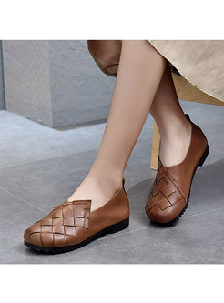 Rounded Toe Weave Leather Non-slip Loafers