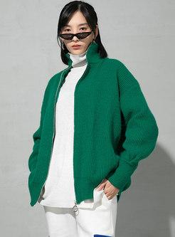 Mock Neck Plus Size Loose Cardigan