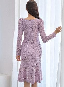 Square Neck Lace Knee-length Peplum Dress