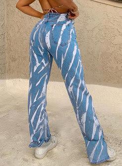Color-blocked Graffiti High Waisted Straight Pants