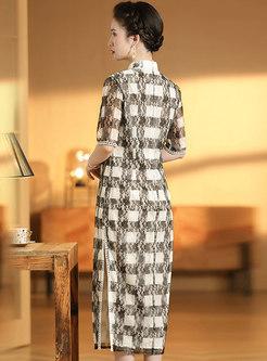 Mandarin Collar Half Sleeve Plaid Cheongsam Dress