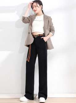 High Waisted Corduroy Long Wide Leg Pants