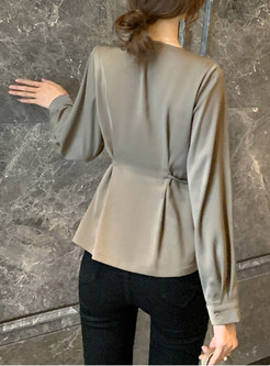 Lapel Double-breasted Slim Chiffon Blouse