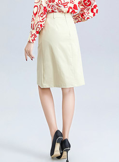 High Waisted Split Cotton A Line Skirt