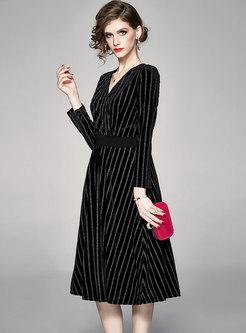V-neck Striped Velvet A Line Midi Dress