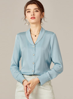 Lapel Single-breasted Silk Solid Blouse