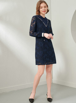 Hooded Lace Patchwork Shift Mini Dress