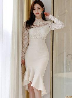 Transparent Lace Bodycon Peplum Skirt Suits