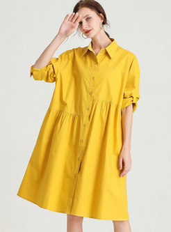 Plus Size Lapel Long Sleeve Shift Shirt Dress