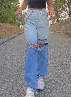 High Waisted Ripped Denim Straight Pants