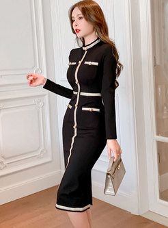Black Mock Neck Long Sleeve Sheath Dress