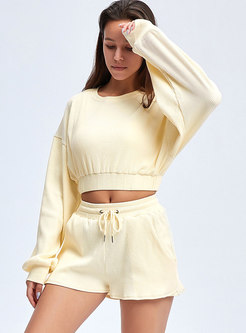 Long Sleeve Pullover High Waisted Short Tracksuit