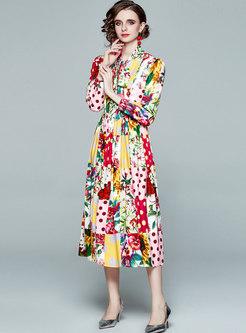 Mock Neck Polka Dot Floral Maxi Dress