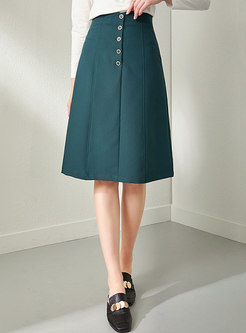 High Waisted A Line Knee-length Skirt