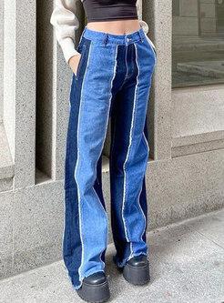 Color-blocked Patchwork Straight Denim Pants