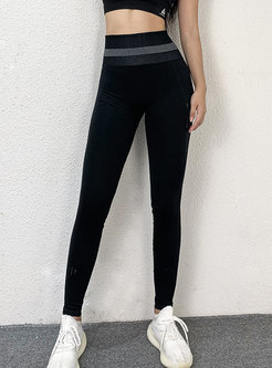 High Waisted Openwork Tight Fitness Pants