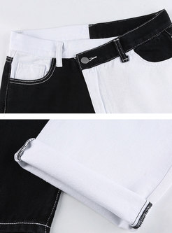 High Waisted Color-blocked Straight Jeans