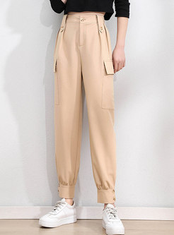 High Waisted Casual Ankle-tied Cargo Pants