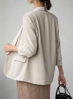 Lapel 3/4 Sleeve Flap Pocket Straight Blazer