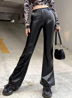 Black High Waisted PU Flare Pants