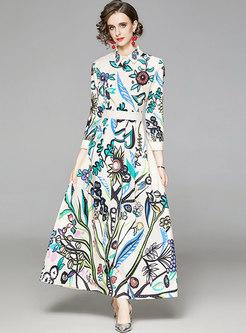 Long Sleeve Floral Big Hem Maxi Dress