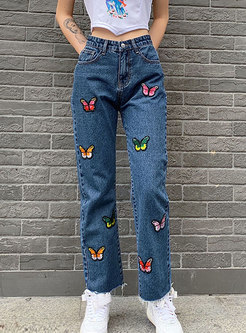 High Waisted Denim Embroidered Straight Pants