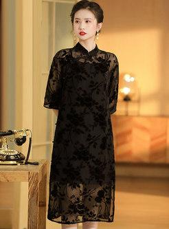 Mandarin Collar 3/4 Sleeve Shift Cheongsam Dress