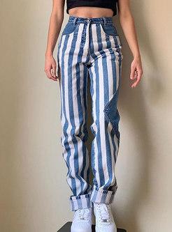 High Waisted Stripe Patchwork Denim Pants