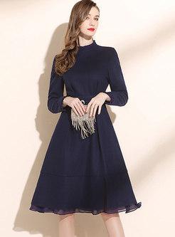 Mock Neck Belted A Line Knee-length Dress