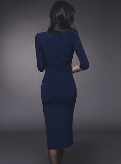 3/4 Sleeve Ruched Asymmetric Bodycon Dress