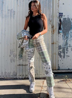 High Waisted Plaid Print Straight Jeans