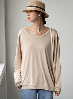 Plus Size Pullover Loose Solid T-shirt