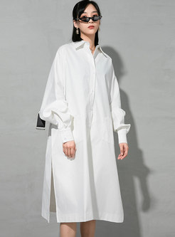 White Long Sleeve Plus Size Shirt Dress