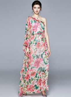 Bohemian Slash Neck Print Chiffon Maxi Dress