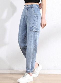High Waisted Ankle-tied Denim Harem Pants