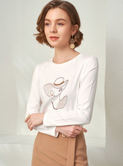 Crew Neck Pullover Embroidered Beaded T-shirt