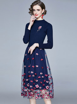 Long Sleeve Mesh Embroidered Patchwork Knitted Dress