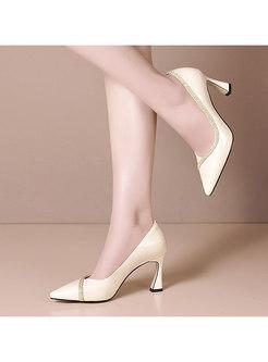 Pointed Toe Low-fronted Rhinestone Heels