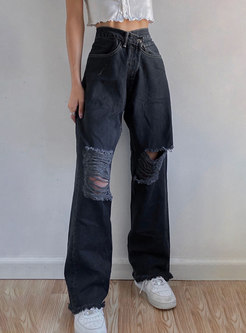 High Waisted Straight Ripped Denim Pants