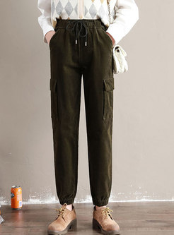 High Waisted Ankle-tied Corduroy Cargo Pants