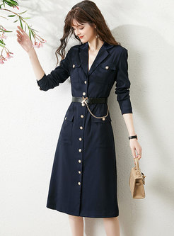 Notched Single-breasted Belted Midi Dress
